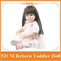 Dulce 52 cm 20 ''renacido muñeca con largo pegado pelo dama como reborn Muñecas bebés lifelike reborn bebé Muñecas para el cabrito