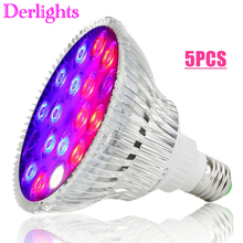 5 قطعة/الوحدة 54 واط الطيف الكامل LED تنمو ضوء UV IR AC85 ~ 265 فولت E27 النمو مصباح ل الزراعة المائية داخلي زهرة الخضار الدفيئة بالجملة