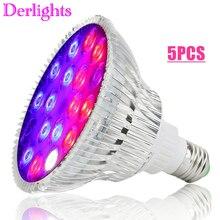 5 Stks/partij 54W Volledige Spectrum Led Grow Light Uv Ir AC85 ~ 265V E27 Groei Lamp Voor Indoor hydrocultuur Bloem Veg Greenhouse Groothandel