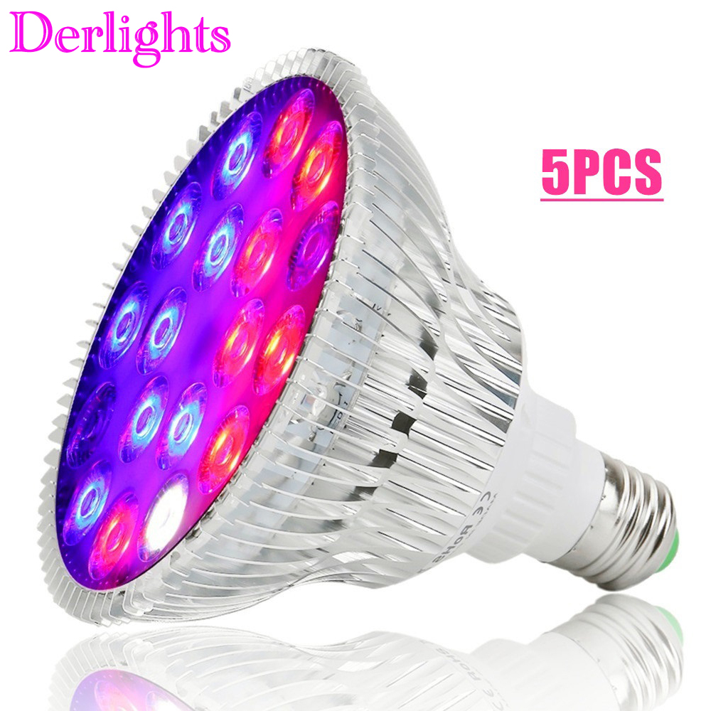 5pcs/Lot 54W Full Spectrum LED Grow Light UV IR AC85~265V E27 Growth Lamp For Indoor Hydroponics Flower Veg Greenhouse Wholesale