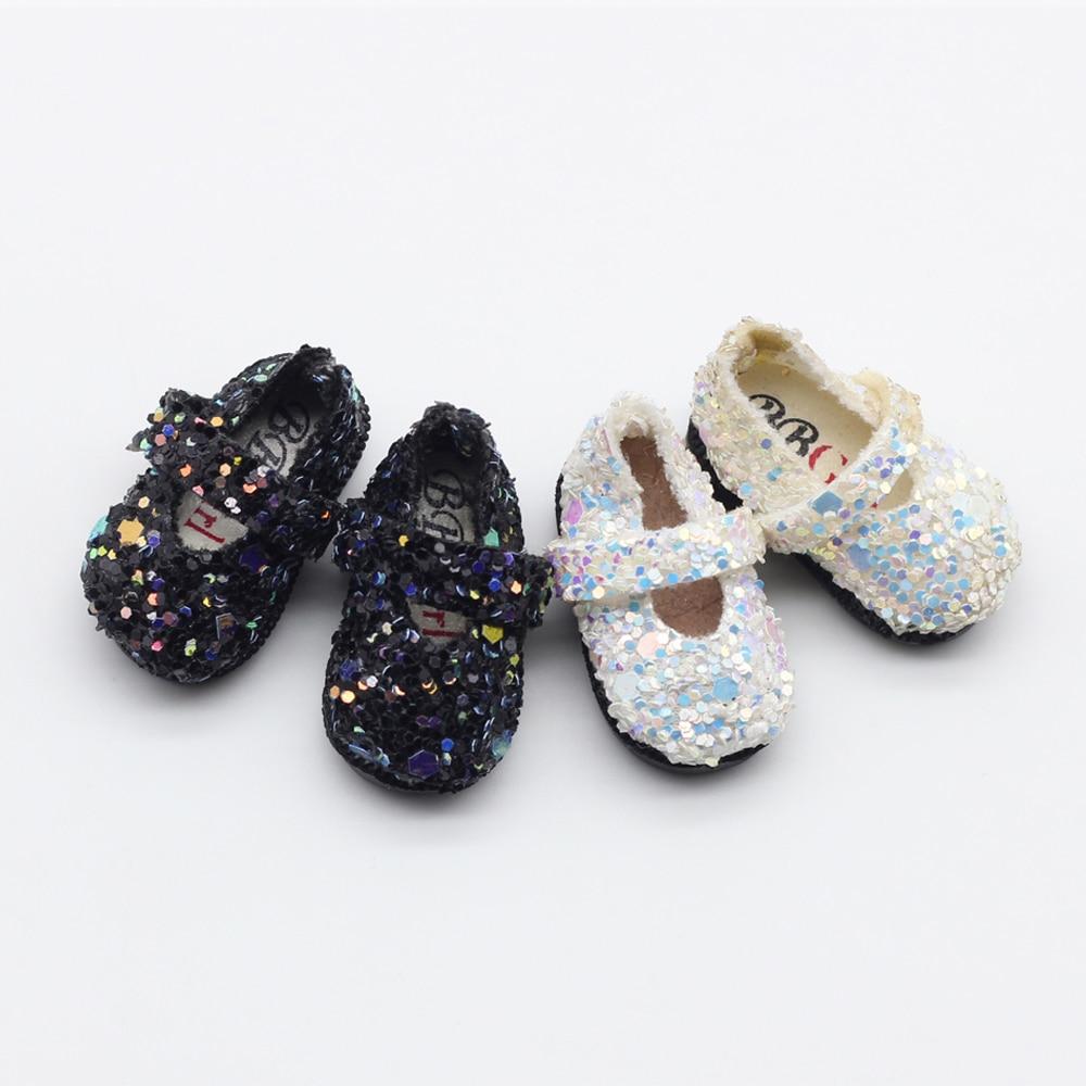 Black White Sequins Mini Shoes For 1/8 BJD Blyth 1/6 Doll Shoes 3.2cm Et008