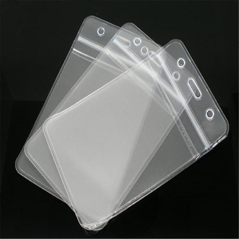 Creative Acrylic ID Cards Badges Holders Vertical Transparent Waterproof Badge Holder& Accessories 11.3cm X 6.9cm, 50 PCs