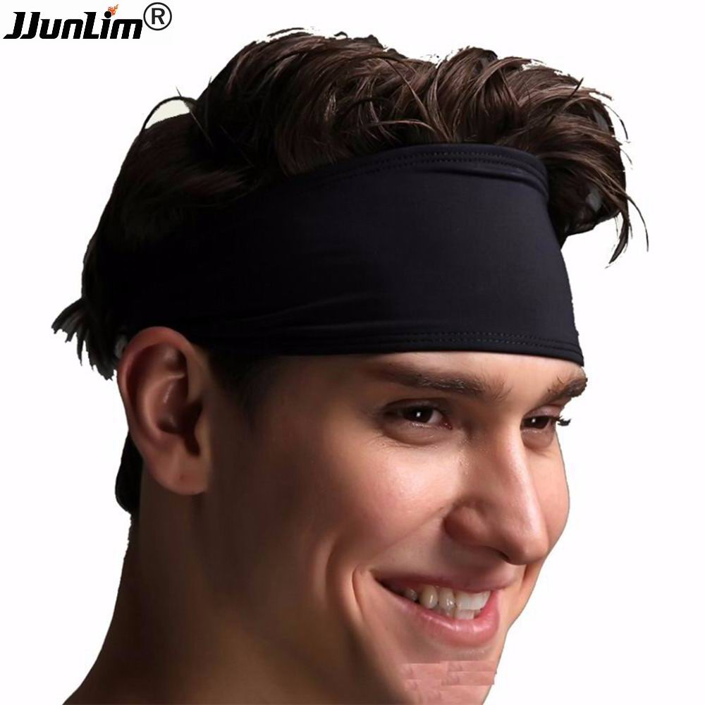 Unisex Sport Headband Kvinnor Män High Elastic Sweat Head Band Svart Yoga Pilates Löpande Fitness Crossfit Gym Non-Slip Sweatband