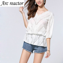 blouses plus size lace shirts cotton hollow out v neck Summer Womens Casual Tops three quarter