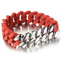 2016 New Fashion Red Tone Infinity Silicone Silver 316L Stainless Steel Charming Mens Cowboy Chain Bracelet Adjustable Length