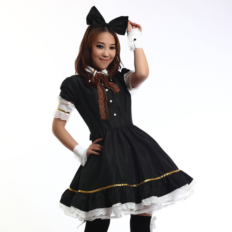 2018 New high quality black Servant Women Cosplay Costume Party Halloween Black Lolita Fancy Dress Women Sissy Maid Uniform