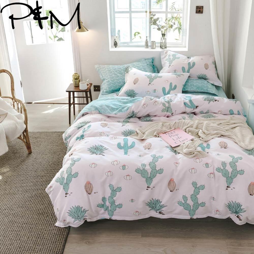PAPA&MIMA Cartoon style cactus print bedding sets cotton Twin Queen Size duvet cover bedsheet pillowcases drop shipping