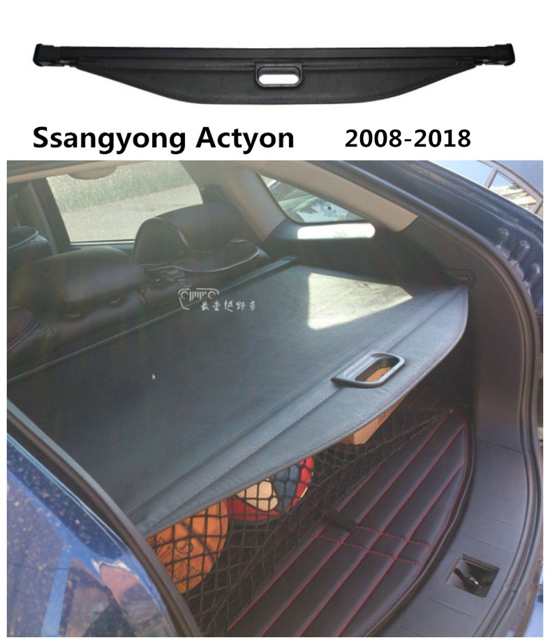 For Ssangyong Actyon 2008-2018 Rear Trunk Security Shield Cargo Cover High Qualit Auto Accessories Black Beige black for hyundai new santa fe 7 seat model 2007 2008 2009 2010 2011 2012 rear trunk security shield cargo cover