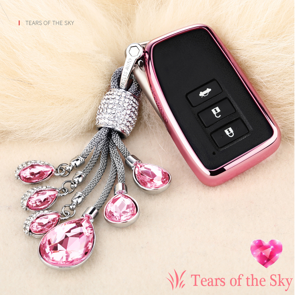 TPU Soft shell car key case cover set For Lexus NX GS RX IS ES GX LX RC 200 250 350 LS 450H Artificial Crystal Pendant keychain