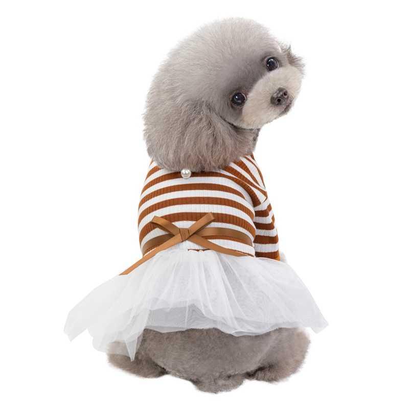 Pet Dog Stripes Perle Della Garza del Tutu del Pannello Esterno Del Vestito Cucciolo del Gatto Vestito Dalla Principessa Vestiti di Cotone Maniche Corte T-Shirt Abbigliamento