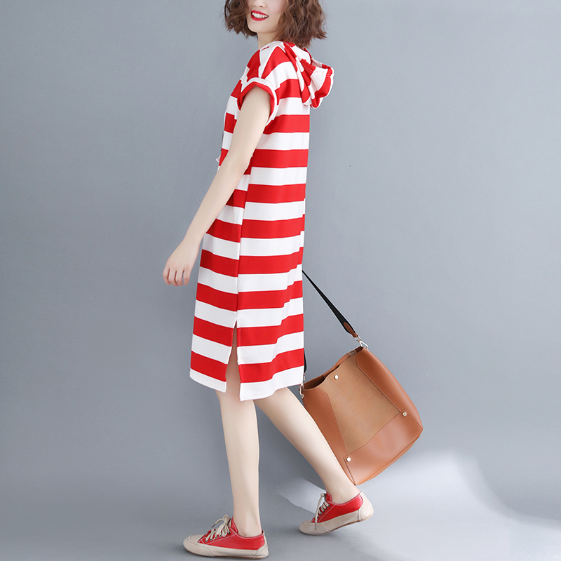0539 Women Hooded Dress Summer Fashion Ladies Sweatshirts Female Sleeveless Red White Striped Side Split T Shirt Dress Oversize in Dresses from Women 39 s Clothing