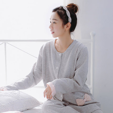 Autumn Winter Maternity Nursing Pajamas For Women Clothes Long Sleeve Striped Warm Cotton Maternity Nightgown Nursing 60M0096