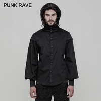 PUNK RAVE Gothic Western Festival Lantern Long Sleeve High Collar Big Men Shirts Inelastic Black Woven