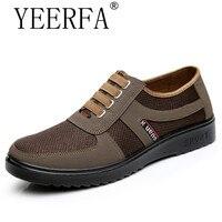 YIERFA אביב סתיו האופנה גודל 39-44 מקרית של גברים נושמים אוויר נוגד החלקת נעליים שטוחות זכר נעלי גברים בד עם נעלי אור