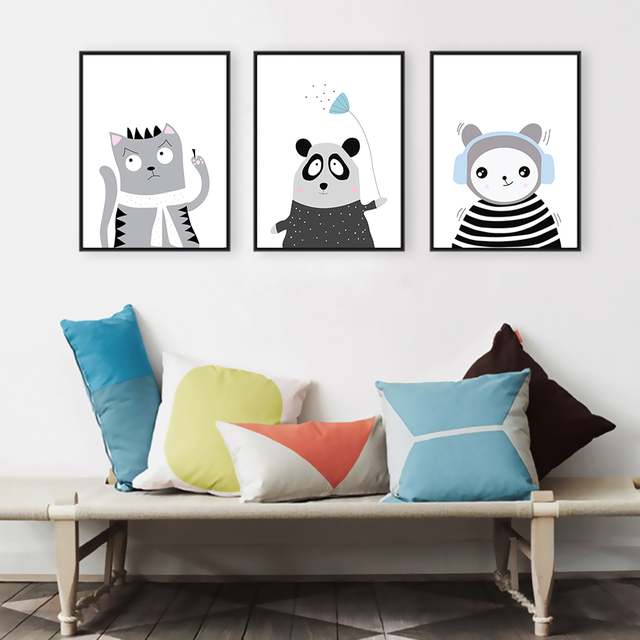 triptychon schwarz wei kawaii tiere panda kunstdrucke poster kindergarten wand. Black Bedroom Furniture Sets. Home Design Ideas