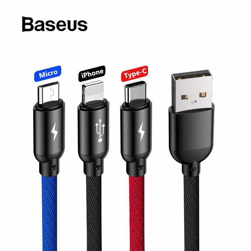 Baseus 3 in 1 USB Cable for iPhone Type C Micro USB Car Charger for Samsung S9 Huawei Charging Cable 3.5A Fast Charging Cord