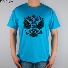 EAGLE FOR RUSSIA  short sleeve T-shirt Top Lycra Cotton Men T shirt New DIY Style