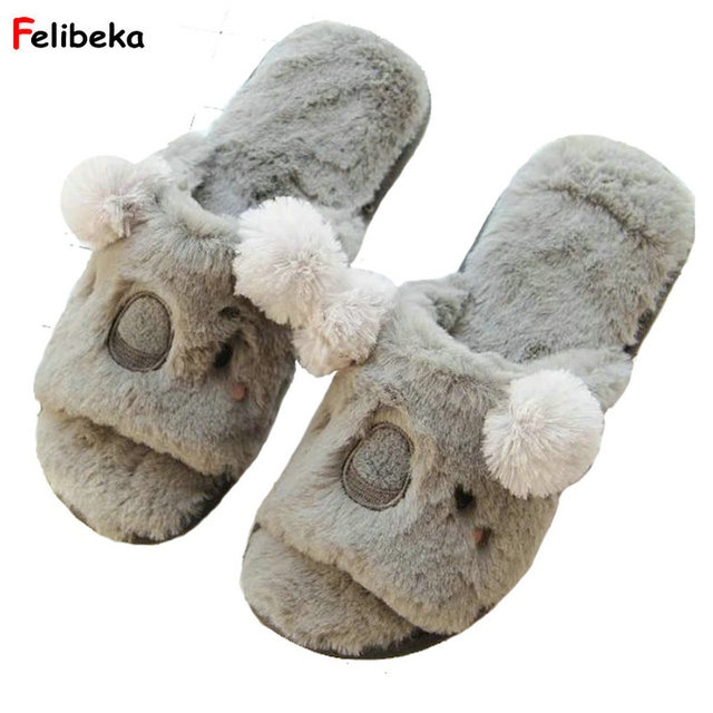68ba6f58913d Lovely Cartoon Spring Autumn Warm Velvet Slippers Comfortable Indoor Shoes  Koala Reindeer Cosplay Slippers Plush Slipper