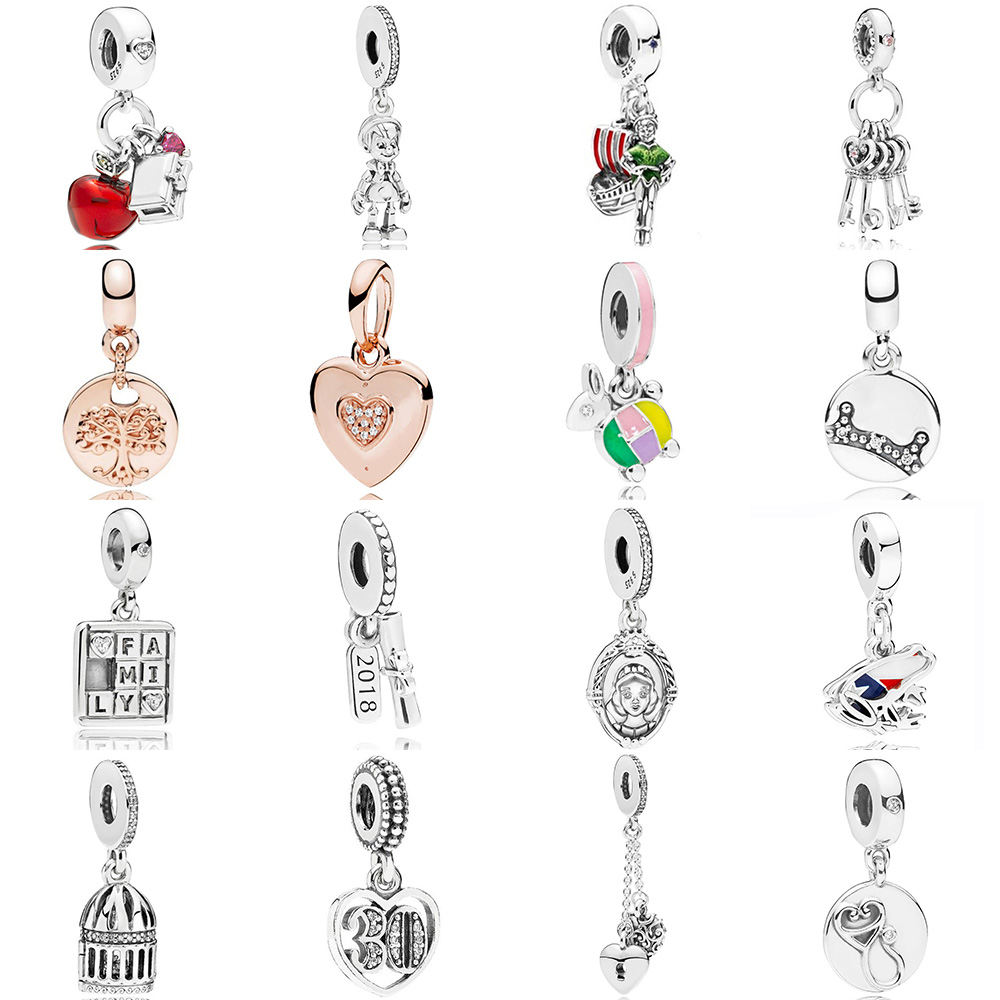 2018 New 925 Sterling Silver Snow White Apple Heart Dangle Charm Key Red Cz Fit Diy Original Bracelet Jewelry Necklace Gift To Ensure Smooth Transmission