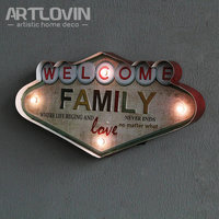 Led Vintage Home Decoration Wall Plaques Family Love signs Iron Welcome Board AA battery Powered