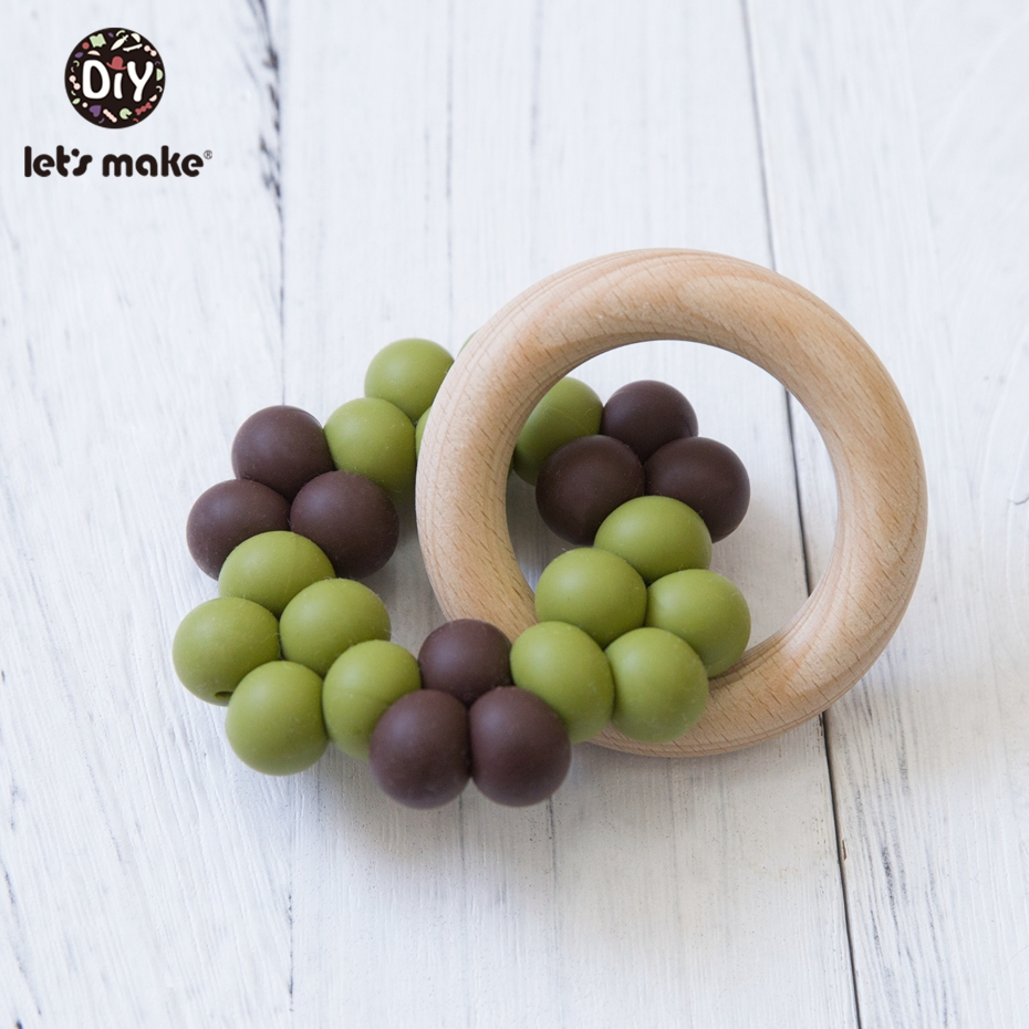 Let'S Make Wooden Teether Baby Silicone Teething Beads Beech Wooden Ring Infant Rattles For Bed Mobile Crib Baby Teether Toys