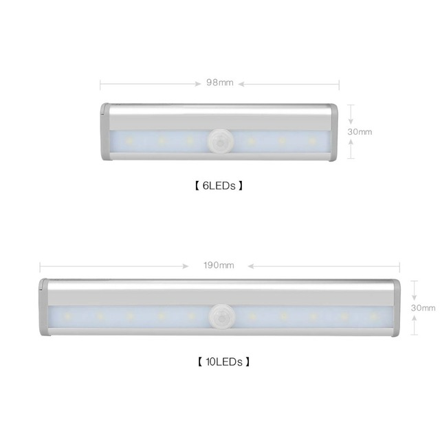 AIMENGTE 98mm/190mm PIR Motion Sensor Under Wardrobe LED Light Universal Cabinet Wardrobe Hinge LED Lamp for Wardrobe Kitchen