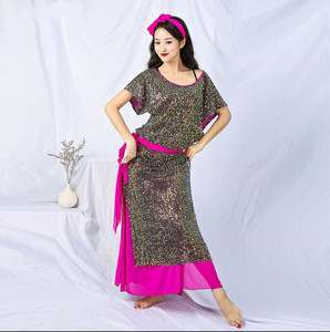 Image 4 - New Sequin Women Baladi Shaabi Saidi Costume 4 Piece Set Robe Belly Dance Stage Show Performance Outfit Loose Design