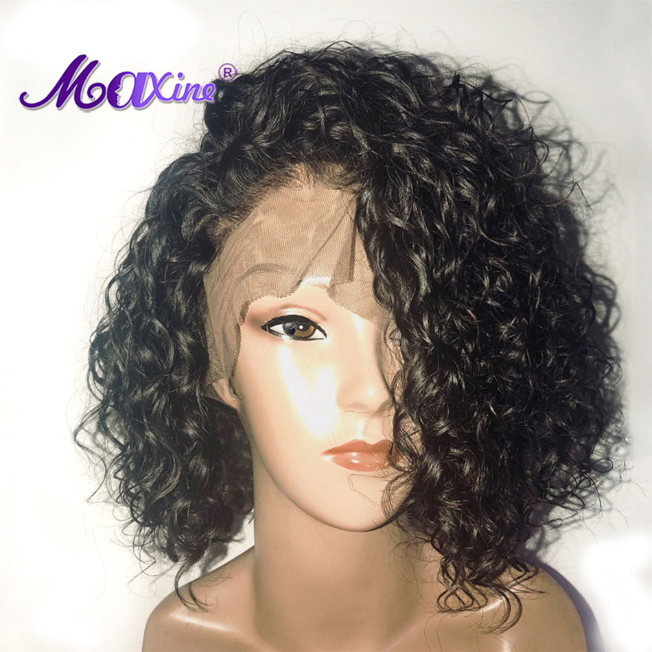 Short Water Wave Bob Wig Lace Front Human Hair Wigs Bob Wig 13x4 Lace Front Wig 150% Density Brazilian Wig Maxine Remy Hair Wig