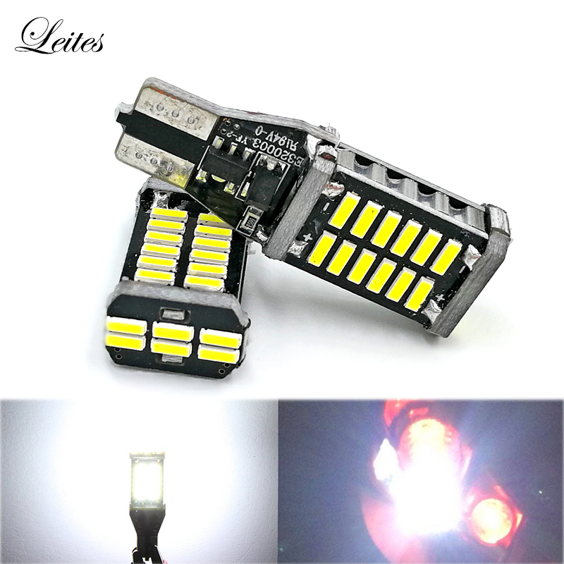2pcs Extremely Super Bright 921 912 LED T15 W16W Canbus High Power 4014 30SMD LED Lights Bulbs for Back-Up Reverse Light