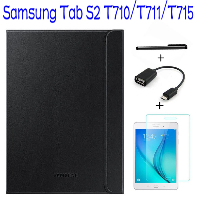 Official Original 1:1 Smart Leather Cover for Samsung Galaxy Tab S2 8.0 T710 T711 T715 Tablet Case+ Screen Protector+OTG +Pen ultra thin smart flip pu leather cover for lenovo tab 2 a10 30 70f x30f x30m 10 1 tablet case screen protector stylus pen