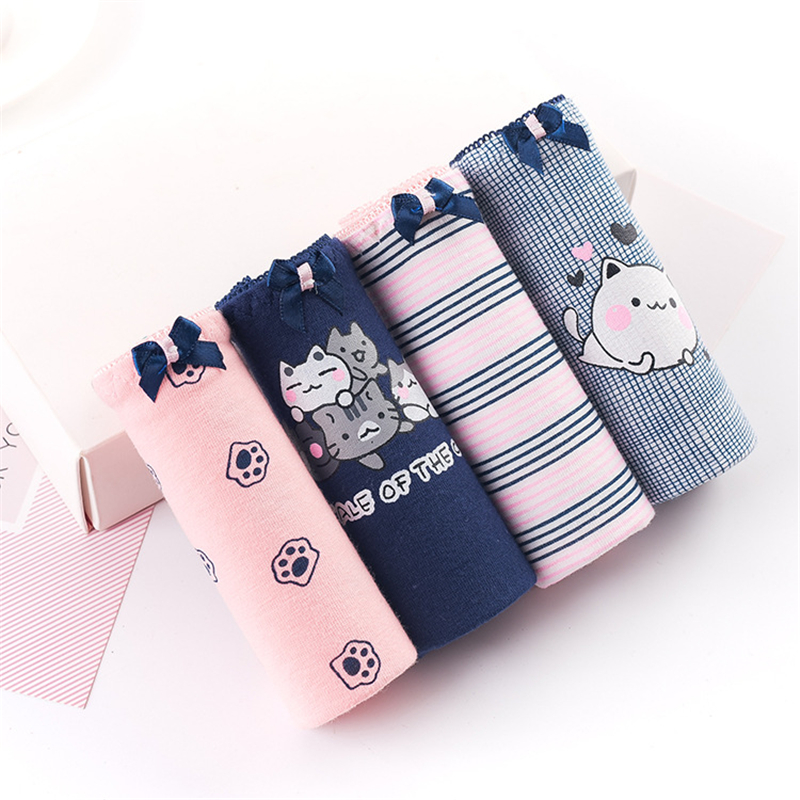 4pcs/lot Briefs for Women Cotton Cat Print Panties Female Stripe Underpants Girls Cute Seamless Underwear Ladies Panty