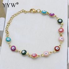 Lucky Girls Women Stainless Steel Bracelets  Multicolor Evil Eye Charms bangles Pulseras For