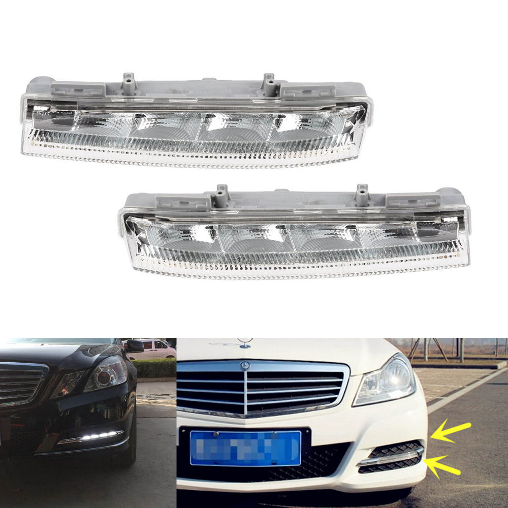 TAIHONGYU Pair ( Left & Right ) Front Bumper DRL Fog Lights for Mercedes Benz W204 W212 R172