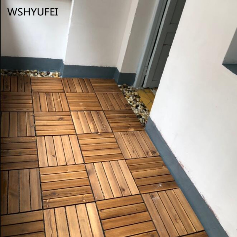 4 pieces/lot of outdoor wooden floor can be spliced, DIY carbonized wood WSH YUFEI 30x30cm image