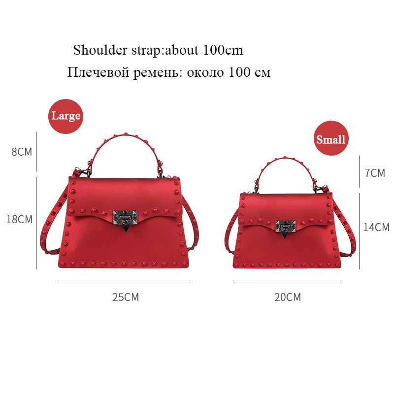 Image 3 - Rivet Women Messenger Bags Luxury Handbags Women Bags Designer PVC Jelly Bag Fashion Shoulder Bag Females PU Leather Handbags-in Top-Handle Bags from Luggage & Bags