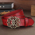 Designers Luxury Flower Female Strap Brand Genuine Leather Floral Dress Belts for Women High Quality Cowskin for Jeans Pants Red