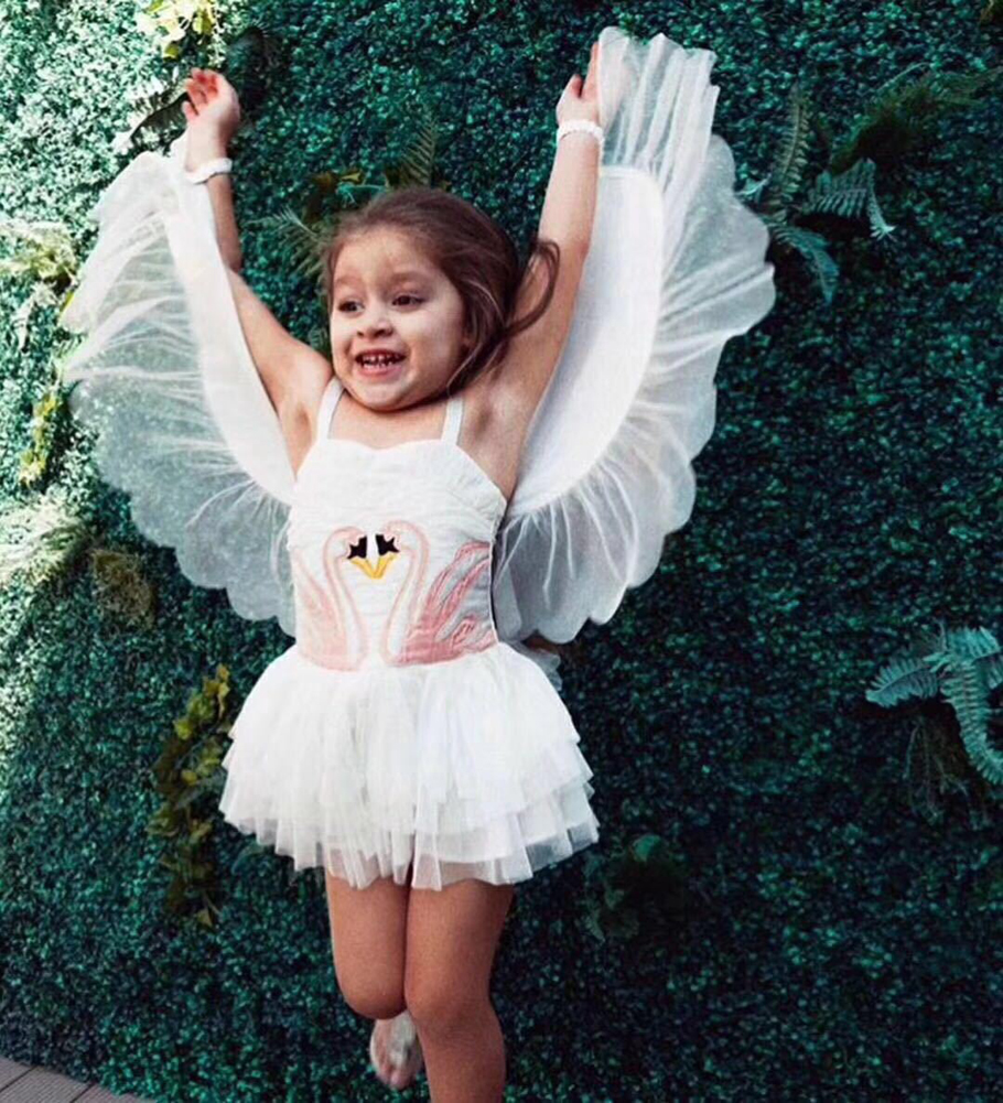 Girl Swan wings Dance Dress Removable Angel Performance Flamingos Summer hanging Wedding Birthday Party Tulle Dress цена 2017
