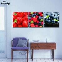 3 Painel Da Arte Da Lona Pintura de Frutas Fotos para Pints de Cozinha Decoração de Casa Retrato Da Parede Da Lona Sem Moldura
