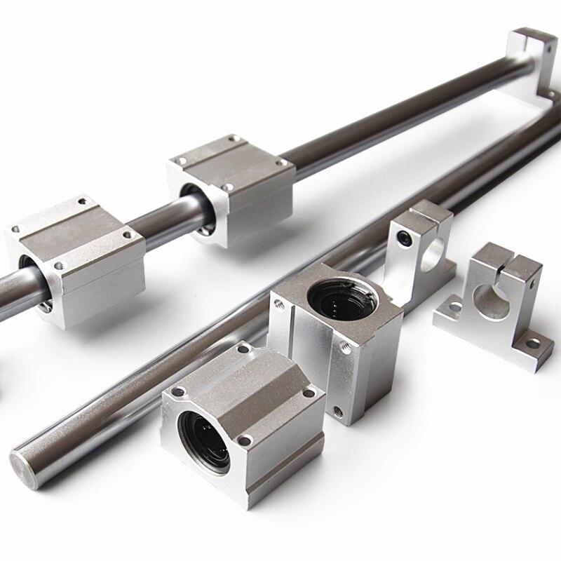 10 unids/set eje óptico lineal del eje ferroviario OD8/12mm 400-600mm + SCS8/12UU lineal bloques de soporte + SK8/12 soporte