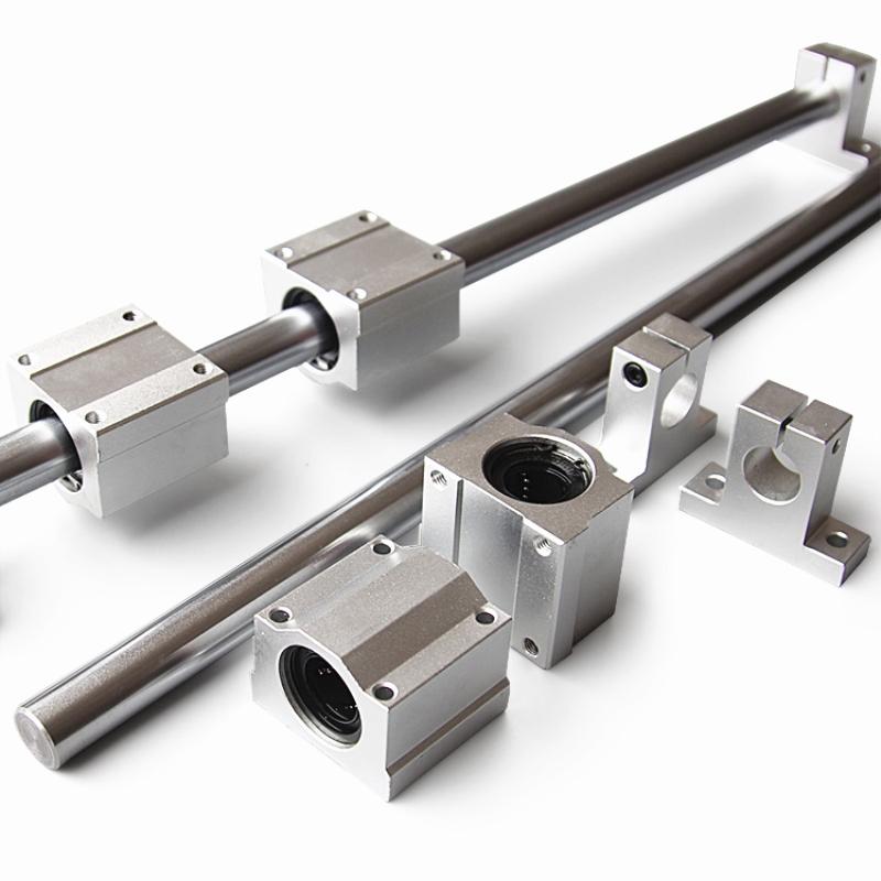 10pcs/set Optical Axis Linear Rail Shaft OD8/10/12mm 200-600mm + SCS8/10/12UU Linear Bearing Blocks + SK8/10/12 Bearing Support