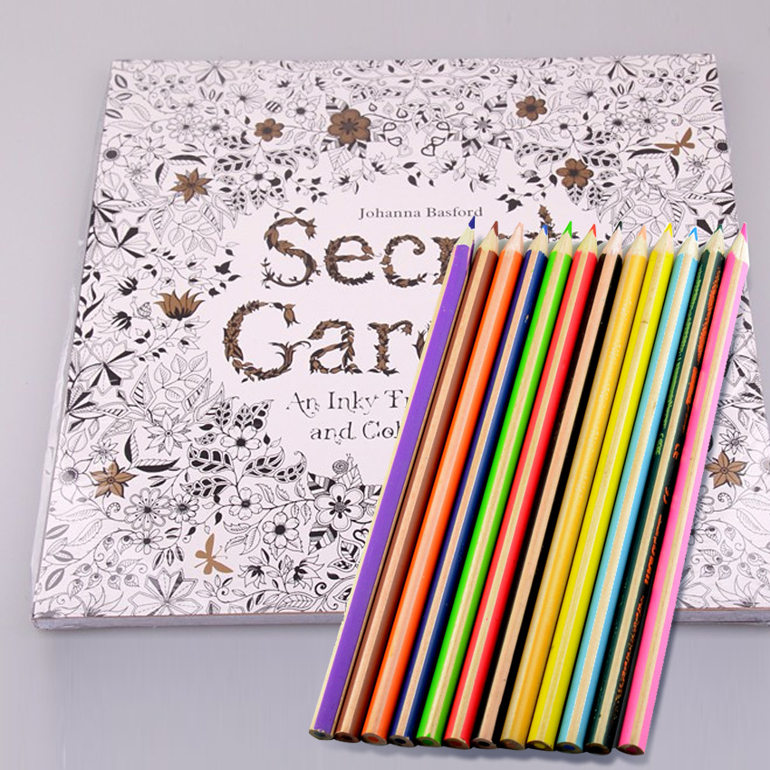 12 Colors Pencils + 96 Pages Secret Garden Art Adults Coloring Books For Kids Children Livros Libros Para Colorear Adultos
