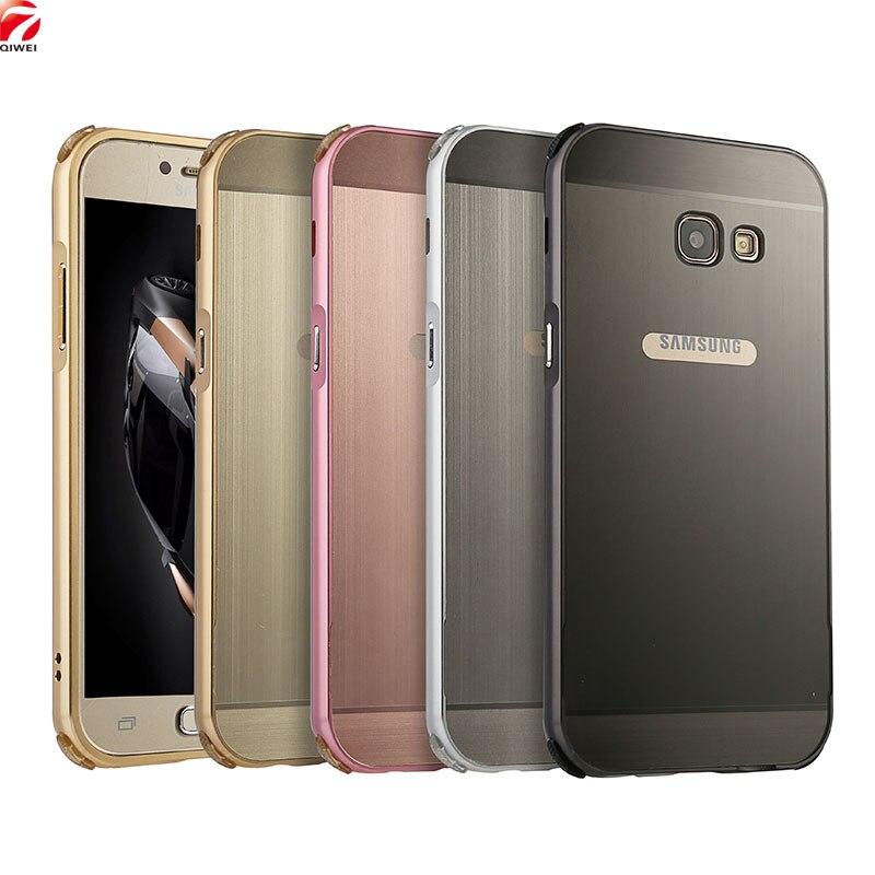 Pour Samsung A5 2017 Cas Brossé Métal Hybride Cadre En Aluminium Pare-chocs dur PC Acrylique Couverture Arrière Pour Sumsung Galaxy A5 2017 A520