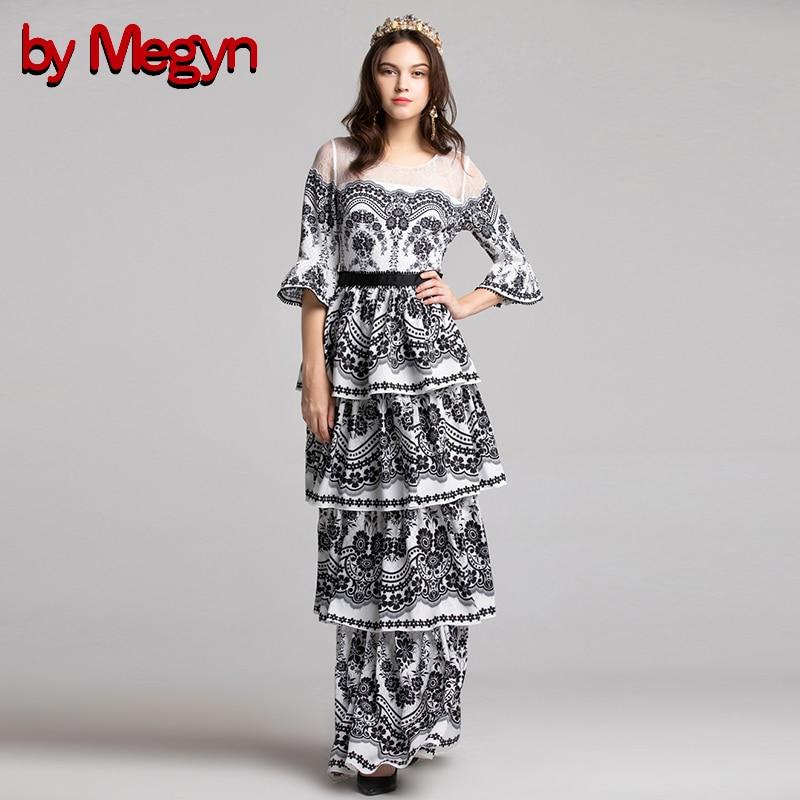 Layered De Robes Élégant cou Megyn Robe Maxi Femme Pour Par Through Femmes White Noël Sexy Dentelle Imprimer 2018 See Automne Ruffle O 4aTOw6