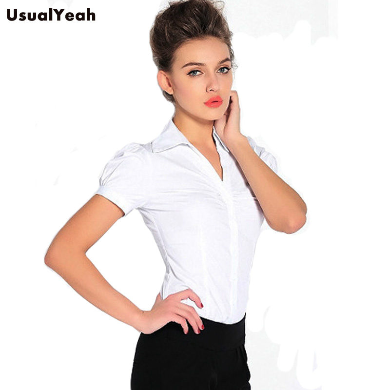 a0ede1f171 Novos 2018 Mulheres Blusas Corpo Camisa Elegante de manga Curta Com Decote  Em V Colarinho plicate SY0251 escritório OL blusas femininas branco S M L XL