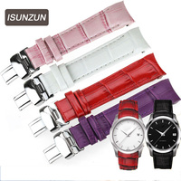 ISUNZUN Women Watch Band For Tissot T035210A T035207 Watch Strap Genuine leather High Quality Nato Leather Strap Free Shipping