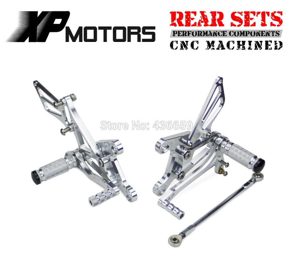 Silver Racing Foot Pegs Adjustable Race Rear Sets For