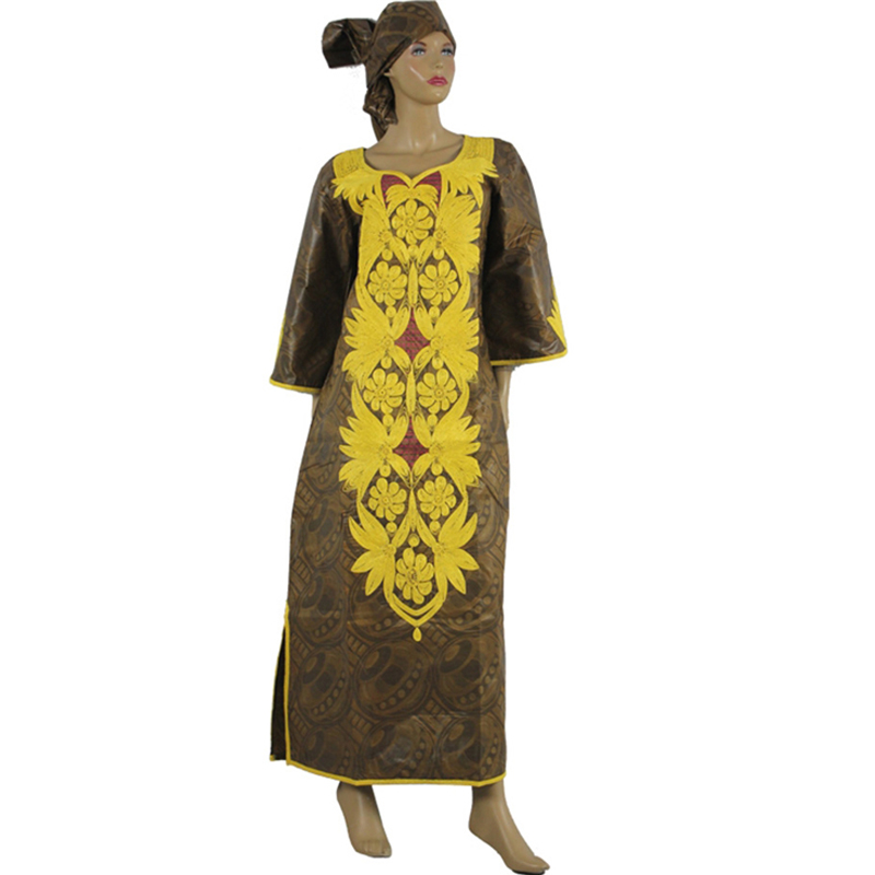 MD women maxi dress african print dresses for cotton africa bazin riche clothing turban 2019