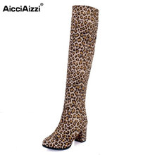 AicciAizzi Size 32-43 Sexy Ladies High Heel Boots Women Round Toe Over Knee Solid Color Thick Heel Boots Warm Winter Botas Mujer