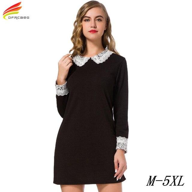 Plus Size Women Clothing 5XL T Shirt Dress Women 2017 New Fashionable High Quality Long Sleeve Big Size Black Dresses Female