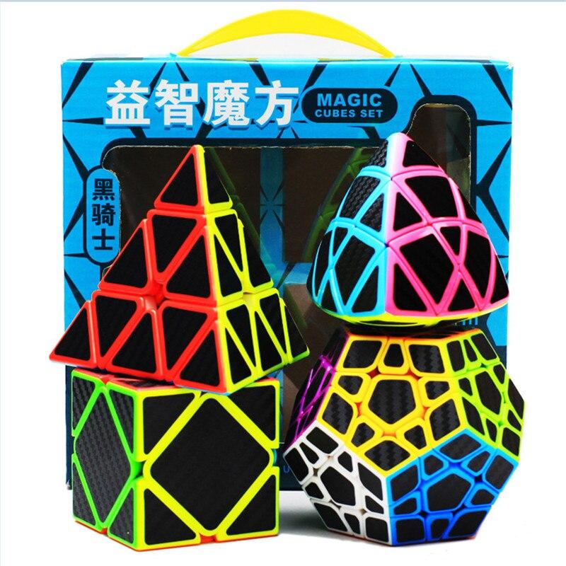 Carbon fiber Magic cubes 2x2 3x3 4x4 5x5 Skew Pyramid magic cube for kids gift Educational toys Magico Cubo 8pcs set shengshou s magic cubes 3 3 2 2 2x2 3x3 skew sq1 megaminx mastermorphix triangle pyraminx mirror rubix rubic cube